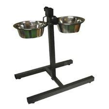 PET/cibo per cani acqua ciotole Twin Set in acciaio inox con supporto regolabile in altezza