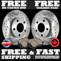 P0645 FIT 2009 2010 Pontiac Vibe 1.8L FRONT Drilled Brake Rotors Ceramic Pads