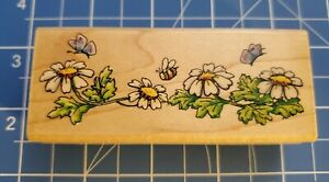 """Penny Black Margaret Sherry 1999 Rubber Stamp """"Daisy Bee Border"""" 1496F"""