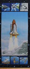 "23.5"" X 56"" Lift Off Space Shuttle Rocket Astronauts Cotton Fabric Panel D464.27"