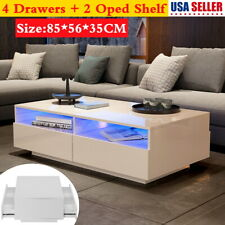 High Glass LED Coffee Cocktail Table Living Room Furniture w/ Shelf & 4 Drawer