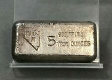NCM Nevada Coin Mart RARE Vintage Hand Poured 5 oz .999 Fine Silver Bar ~ COOL