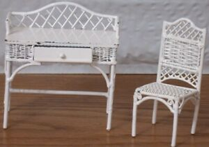 Miniature White Wire  Alice Lacy Doll House Desk and Chair w Original Label 1992