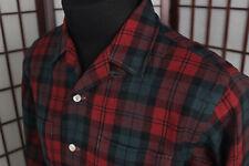 VTG 50s Wellington Worsted Wool Plaid Shirt Made in Japan Sz Large Single Needle