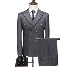 Striped Men Suits Slim Fit Double Breasted Peak Lapel Groom Formal Tuxedo Suit