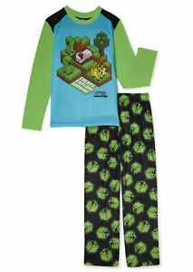 MINECRAFT Pajamas Size 10-12 14-16 XL Boys Shirt Pants Set Creeper Pigs Girl NWT