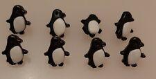 8 x 17mm large Black and White Penguin Plastic Shank Buttons - KV66