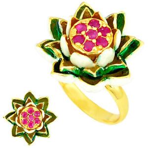 Handmade Thai Natural Ruby Enamel 925 Silver Gold Flower Ring Size 6.5 C21096