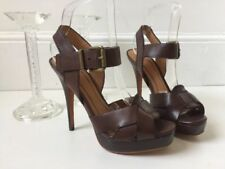 Zara Patternless 100% Leather Casual Heels for Women