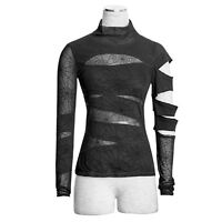 Punk Rave Black Widow Top Spiderweb Long Sleeve Slash Shirt Gothic Witchy T-288