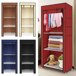 Bedroom Single Canvas Clothe Storage Wardrobe Organiser Cupboard Shelves Durable