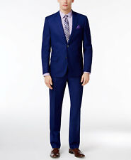 $710 BEN SHERMAN men BLUE SLIM FIT SUIT JACKET SOLID COAT BLAZER PANTS 46 R