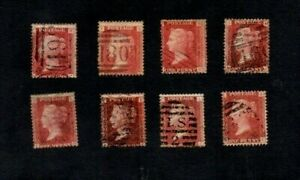 1864. 8xDIFF 1d RED PLATE NUMBER STAMPS. 72/78/80/84/94/168/206/213.cat £54+