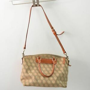 Dooney & Bourke Small Shoulder Bag Canvas Leather Signature