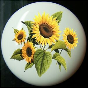 SUNFLOWER YELLOW FLORAL  #1   DECORATIVE  DRAWER AND CABINET KNOBS HOME DECOR