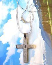 Men Women Stainless Steel Cross + Bible Pendant New Age Choker Necklace