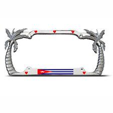 LOVE CUBA CUBAN FLAG Heavy Duty Metal Chrome PALM TREE License Plate Frame