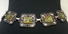 Tradicional/tribal Piedra Verde Cinturón de Bronce Bailarina del vientre// Vaquera/Vintage (B2)