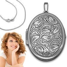 XXL Foto Amulett Medaillon Anhänger oval mit Kette Echt Silber 925 für 2 Bilder