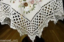 SALE HAND RIBBON EMBROIDERY & CROCHET LACE TABLECLOTH TEACLOTH TABLE TOPPER *