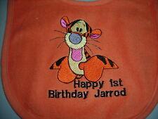 happy first  birthday  orange  tigger  baby  bibs