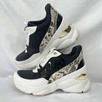 Michael Kors Trainer Sneakers Animal Snake Print White & Black Sz 6.5 New Nice!