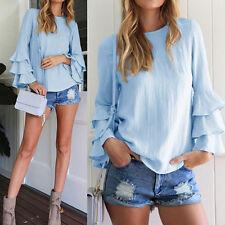 Fashion Women Vintage Long Sleeve Ruffled Flounce Hem Tops Casual T-Shirt Blouse
