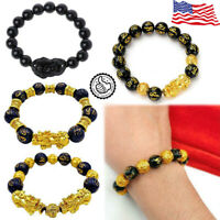Feng Shui Black Obsidian Pi Xiu Wealth Bracelet Gift Attract Wealth & Good Luck