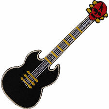 Black Electric Skull Guitar Embroidered Iron / Sew On Patch Embroidery Bag Badge