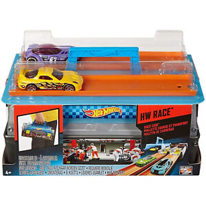Hot Wheels Carry Case Race Track Builder Connector Racing Toy Fast Cars Launcher