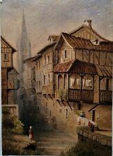 AQUARELLE-ARCHITECTURE-VILLAGE NORMAND-COLOMBAGE-E. GARAUD-NORMANDIE-