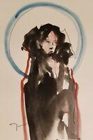 "JOSE TRUJILLO - Vertical Art Watercolor Painting ABSTRACT Fashion Figure 6X9"""