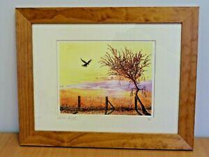 Landscape of Field w/ Kestrel, Framed, Signed & Numbered Print by Leslie Clark
