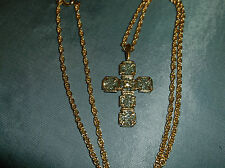 "Vintage Necklace 18"" gold tone chain with rhinestone 1"" cross pendant"