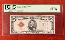 •NARROW• 1928F $5 Red Seal Legal Tender Note PCGS Gem Uncirculated CU 66PPQ C2C