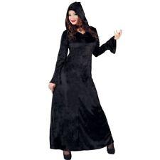 Black Velvet Medieval Witch Dress with Hood Fancy Dress Costume