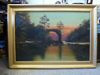 Antique framed Oil on canvas Painting Sunset River Ruin signed C.M.N 1916 Irish