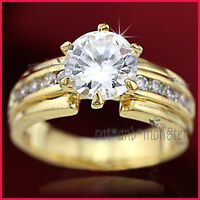 9K GOLD GF LADIES 3CT SOLITAIRE ENGAGEMENT WEDDING DRESS 6MM BAND CRYSTAL RING