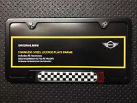 OEM Mini Cooper License Plate Frame Checkered Flag Matte Black 51800406644
