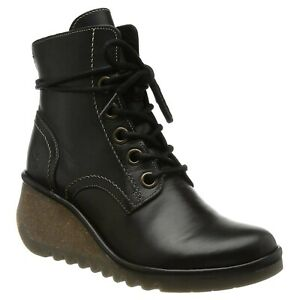 Fly London Womens Boots NERO257FLY Casual Lace-Up Ankle Wedge Rug Leather