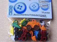 DRESS IT UP BUTTONS - CRAFTS/CARDMAKING - THINGS THAT GO ZOOM  - 10 PIECES