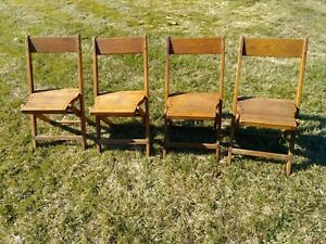 Antique Vintage Slat Wood Folding Chair Snyder Chair Co. USA