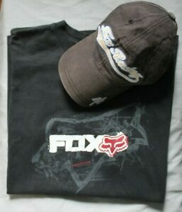 Vintage Fox Racing black T shirt & Fox Racing 74 flexfit Cap