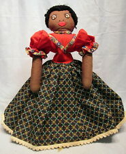 RARE ANTIQUE TOPSY TURVY HANDMADE CLOTH DOLL BLACK AND WHITE 18""
