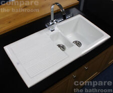 Ceramic 1.5 Bowl Kitchen Sink with Waste by Rak Ceramics White 20 Year Guarantee