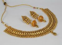 New 24 Ct Gold Plated Women Indian Fashion Jewelry Choker Necklace Earring  Set
