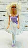 "MATTEL BARBIE Doll Blonde Hair Blue Eyes Purple White Ballerina Dress 12"" Tall"