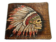 Men's Genuine Leather Wallet, Carved Wallet, Airbrush Art, Tooled, Indian Skull