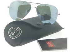 Ray Ban RB8058-003-30 Aviator Men's Silver Frame Flash Grey Lens Sunglasses NWT