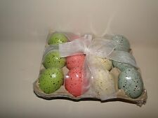 12 Decor Speckled Eggs In Carton, Green, Pink, Blue, White, Grade A Size, Easter